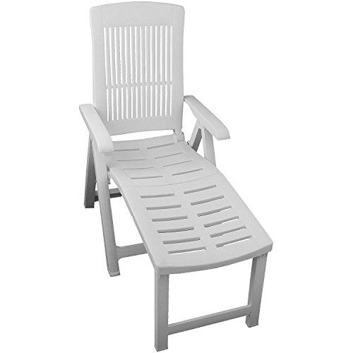 Liegestuhl Gartenliege Sonnenliege Relaxliege Gartenstuhl Klappstuhl Deckchair Lehne 5-fach verstellbar klappbar Kunststoff Gartenmöbel - Weiß