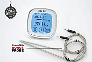 Touchscreen Digital Meat Thermometer GREAT FATHERS DAY GIFT and Timer with 2 Probes, BEST Cooking BBQ Internal Meat Thermometer for Kitchen Oven Grilling Food and Smoker, BLUE SKILLET