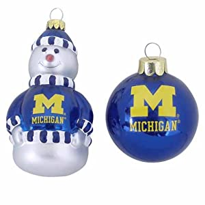 NCAA Michigan Wolverines Snowman and Ball Mini Blown Glass Ornaments