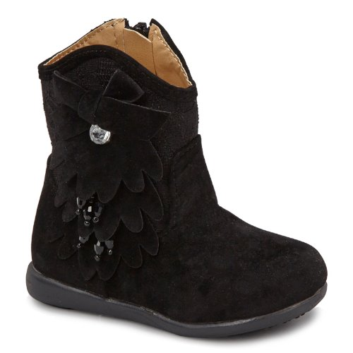 Carrie Toddler/Little Kid Rhinestone Flower Kiki Boots - Black 11 M Us Little Kid front-819561