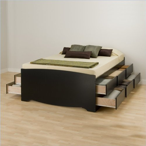 Prepac Sonoma Black Tall Full Wood Platform Storage Bed 3 Piece Bedroom Set