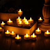 20 X BATTERY OPERATED INDOOR FLAME LESS FLICKING TEA LIGHT CANDLES WHITE BASE SAFE LONG LASTING