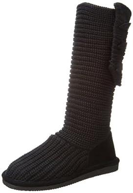 BEARPAW Women's Knit Tall Boot,Black,5 M US