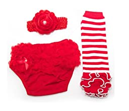 Ema Jane Baby Tutu Ruffle Leg Warmers - Baby Leggings (Ruffle Cupcake Set (Red and White))