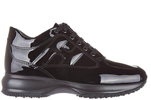 Hogan scarpe sneakers donna in pelle nuove interactive allacciata vernice nero EU 37 HXW00N00010OW09999