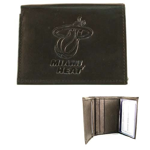 Miami Heat NBA Men's Embossed Leather Trifold Wallet (Black) (Miami Heat Wallet compare prices)