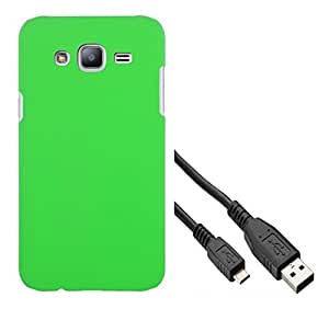 Chevron Rubberized Matte Hard Back Cover Case for Samsung Galaxy On5 with Data Cable (Charm Green)