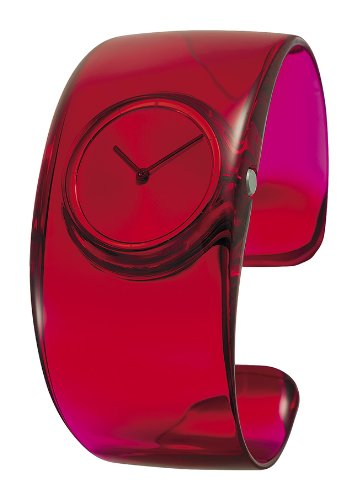 Issey Miyake O Women's Quartz Watch with Red Dial Analogue Display and Red Resin Bangle SILAW004