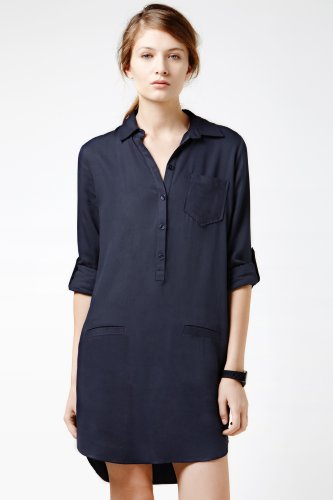 Long Sleeve Brushed Twill Shirt Dress