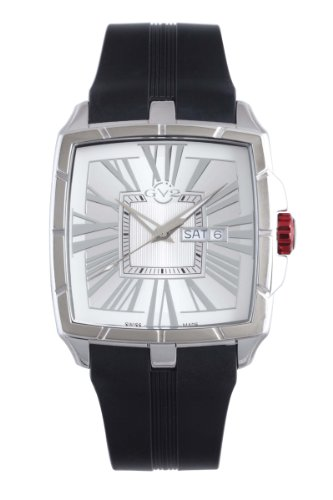 GV2 by Gevril Men's 9004 Fiamme Square Stainless Steel Case Sapphire Crystal Silver Dial Day-Date Rubber Watch