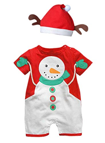 PrettyKids Unisex Children Christmas Snowman Costume Outfit Baby Cute Jumpsuit with Reindeer Hat
