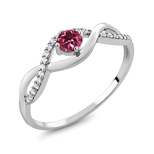 0.55 Ct Round Natural Pink Tourmaline 925 Sterling Silver Ring