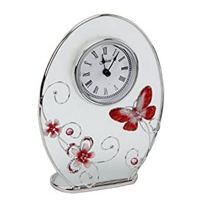Butterfly & Flower Crystal Red Mantel Clock Gift: Kitchen & Dining