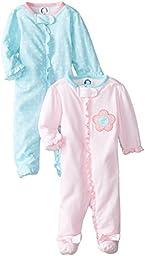 Gerber Baby-Girls Newborn 2 Pack Sleep N Play Zip Front, Flowers, 3-6 Months