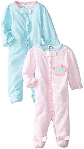 Gerber Baby-Girls Newborn 2 Pack Sleep N Play Zip Front, Flowers, New Born