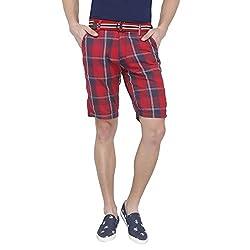 Origin Red Cotton Checkered Capris for Men