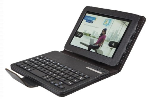 Sinbad 2 In 1 Removable Wireless Bluetooth Abs Keyboard Leather Case With Stand For Kindle Fire Hd 7 Inch For And 1Pcs Stylus Pen (Free) As The Gift-Black