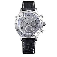 [ソーラーウェーブクロノ シルバー文字盤・レザーストラップ]Solar Wave Chrono ・Silver ・Leather  Strap 腕時計 ソーラー電波 SWC02LE メンズ