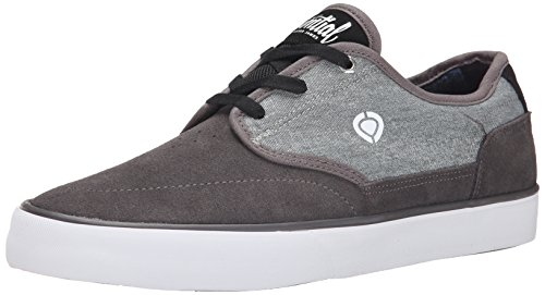 C1RCA Men's Essential Skateboard Shoe, Dark Gull/Black/White, 11 M US
