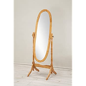 Roundhill Furniture Traditional Queen Anna Style Wood Floor Cheval Mirror, Oak Finish