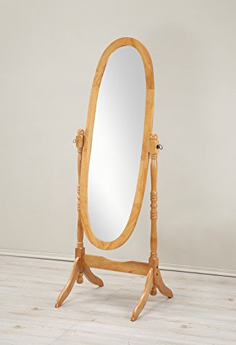 Roundhill Furniture Traditional Queen Anna Style Wood Floor Cheval Mirror, Oak Finish 0