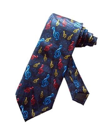parquet mens navy blue multi color g clefs music notes necktie tie clothing. Black Bedroom Furniture Sets. Home Design Ideas