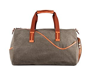 Designer Casual Canvas and Leather Gym Duffel Bag, Large, Khaki and Brown by Most Will