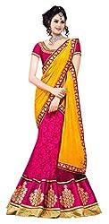 Devikrupa fashion Women's Brasso Unstitched Lehenga Choli (Pink)