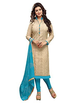 Women's Clothing Designer Party Wear Low Price Sale Offer chinese collar dress for women with V neck beige | Blue Salwar | Kameez | Duppata dress Material