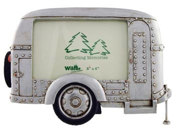 Silver Vintage Camper Trailer RV Collectible Photo Picture Frame, 4x6, Horizontal Landscape, Standing Table Top