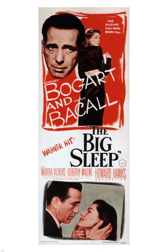 1946 BOGART & BACALL in the big sleep MOVIE POSTER film noir CRIMINAL 24x36 (reproduction, not an original) (Vintage Film Posters compare prices)