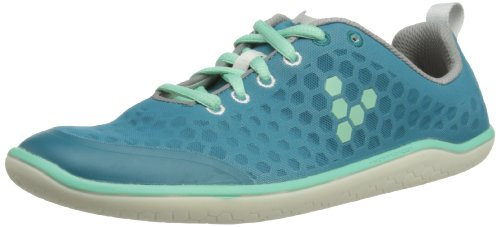 Vivobarefoot Women's Stealth Running Shoe,Grey/Teal,37 EU/6.5 M US