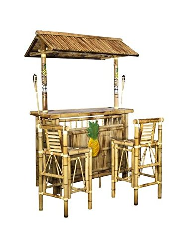 Island Tiki Bamboo Bar with Two Stools and Two Torches (Outdoor Tiki Bar compare prices)