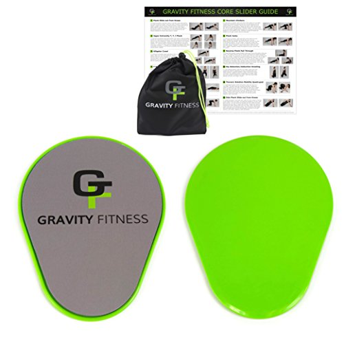 Gravity Fitness Core Sliders, 1 Pair of Ergonomic Pear-shaped Gliding Discs, Dual Sided Sliding Plate for Carpets or Hardwoods, Includes Free Storage Bag and Exercise Program (Green) (Slide Exercise compare prices)