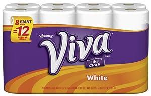 Viva Giant Roll Paper Towels, White, 8 Rolls, Pack of 4 (32 rolls)