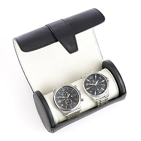 Royce Leather Travel Watch Roll in Genuine Leather, Fits Two Watches - Black (Rolls Royce Watch compare prices)