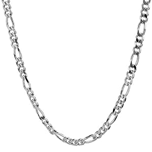 """1mm thick solid sterling silver 925 stamped Italian designer diamond cut FIGARO curb link style chain necklace chocker bracelet anklet with spring ring clasp jewellery jewelry - Available in lengths: inch 6""""/15cm, 8""""/20cm, 10""""/25cm, 12""""/30cm, 14""""/35cm, 16""""/40cm, 18""""/45cm, 20""""/50cm, 22""""/55cm, 24""""/60cm, 26""""/65cm, 28""""/70cm, 30""""/75cm, 32""""/80cm, 34""""/85cm, 36""""/90cm, 38""""/95cm, 40""""/100"""