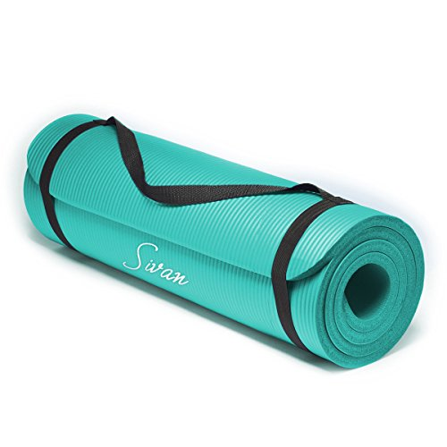 Sivan Health and Fitness® 1/2-InchExtra Thick 71-Inch Long NBR Comfort Foam Yoga Mat for Exercise, Yoga, and Pilates (Teal)