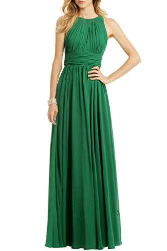 Ssyiz Women's Elegant Pleated Chiffon Floor Length Evening Dress Gown 31 Green M