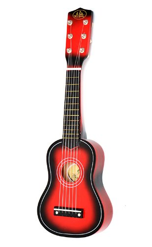 Child's Guitar Wooden for Ages 3 and Above with Bag and Replacement Strings 54 cm Red