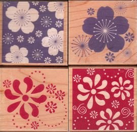 Blossom Patterns Wood Mounted Rubber Stamp Set (LL173)
