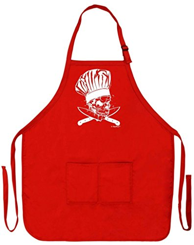 Chef Skull and Bones Crossed Knives Funny Apron for Kitchen BBQ Barbecue Cooking Baking Grilling Bacon Two Pocket Apron for