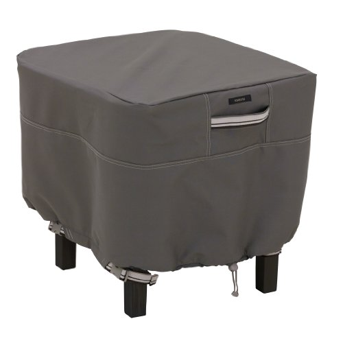 Classic Accessories Ravenna Square Ottoman/Side Table Cover - Premium Outdoor Furniture Cover with Durable and Water Resistant Fabric, Small, Taupe (55-168-025101-EC) (Small Patio Side Table compare prices)