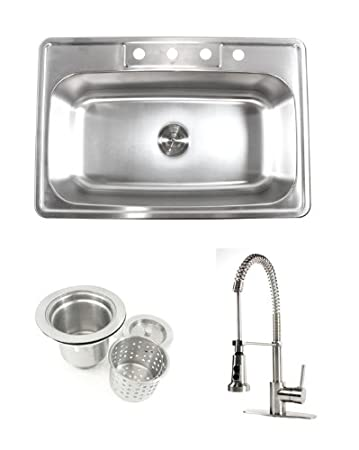 33 Inch Stainless Steel Top Mount Drop in Single Bowl Kitchen Sink Coil Spring Combo