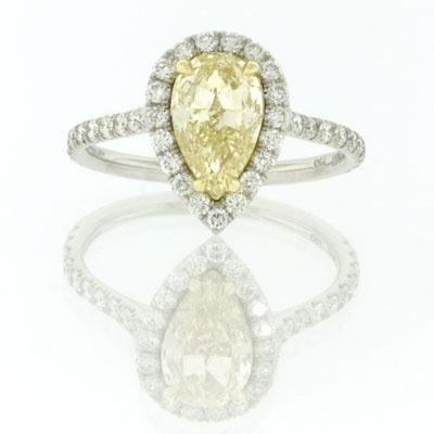 2.21ct Fancy Yellow Pear Shape Diamond Engagement