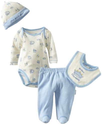 Vitamins Baby Baby-boys Newborn Prince Charming 4 Piece Creeper Pant Set, Ivory, Newborn