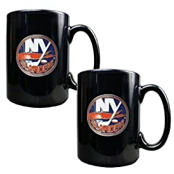 New York Islanders 2pc Black Ceramic Mug Set - Primary Logo NHL Hockey