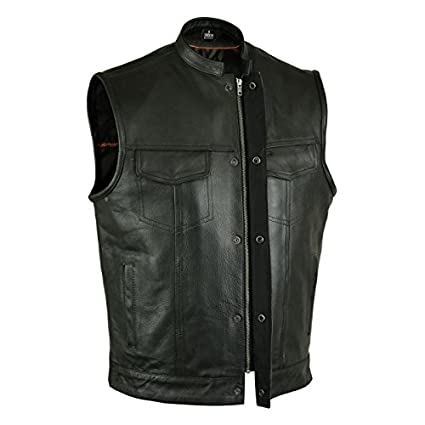 GILET CUIR BIKER ANARCHY TAILLE XL (Ref : RS-615)