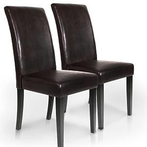 Lot ensemble de 2 chaises pour salle a manger ou salon for Deco cuisine avec chaise de salon cuir