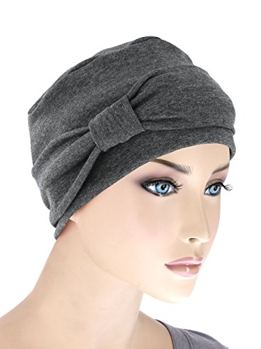 Comfort Cotton Sleep Cap & Headband Chemo Hat Beanie Turban for Cancer Charcoal Gray (Cancer Head Caps compare prices)